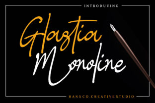 Print on Demand: Glastia Monoline Script & Handwritten Font By HansCo