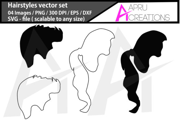 Print on Demand: Hairstyles Silhouette/ Hairstyles Clipa Graphic Icons By aparnastjp
