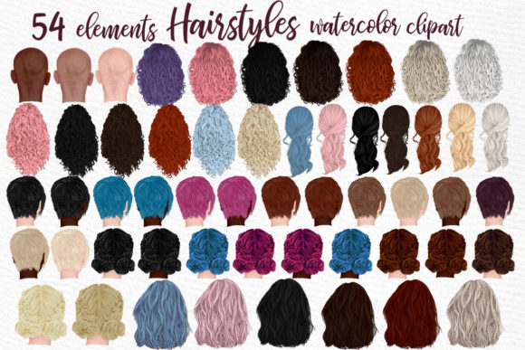 Hairstyles Clipart, Girls Hairstyles Graphic Illustrations By LeCoqDesign
