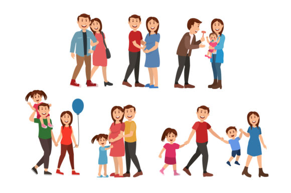 Download Free Happy Family Illustration Graphic By Namela Creative Fabrica for Cricut Explore, Silhouette and other cutting machines.