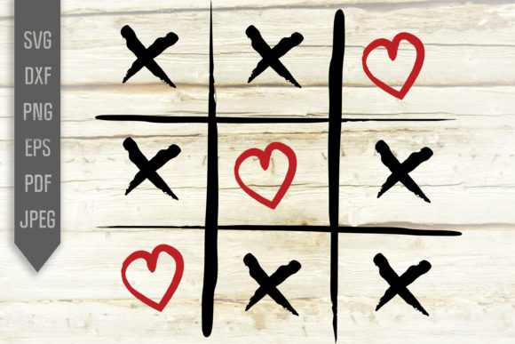 Print on Demand: Hearts Tic Tac Toe Svg. Love Wins Design Graphic Crafts By SVGlaboratory