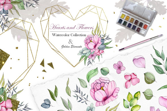 Print on Demand: Hearts and Flowers Watercolor Collection Graphic Illustrations By tanatadesign