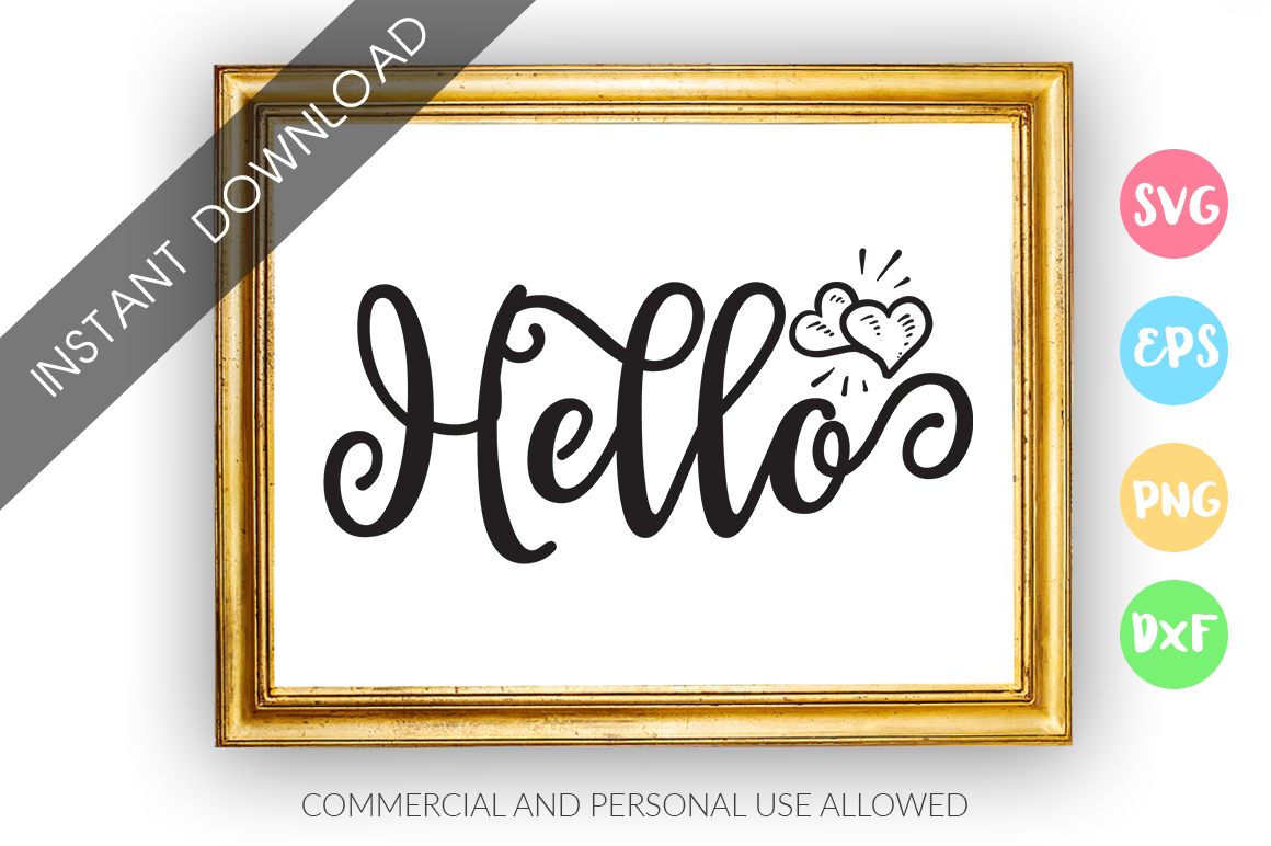 Download Free Hello Graphic By Designfarm Creative Fabrica for Cricut Explore, Silhouette and other cutting machines.
