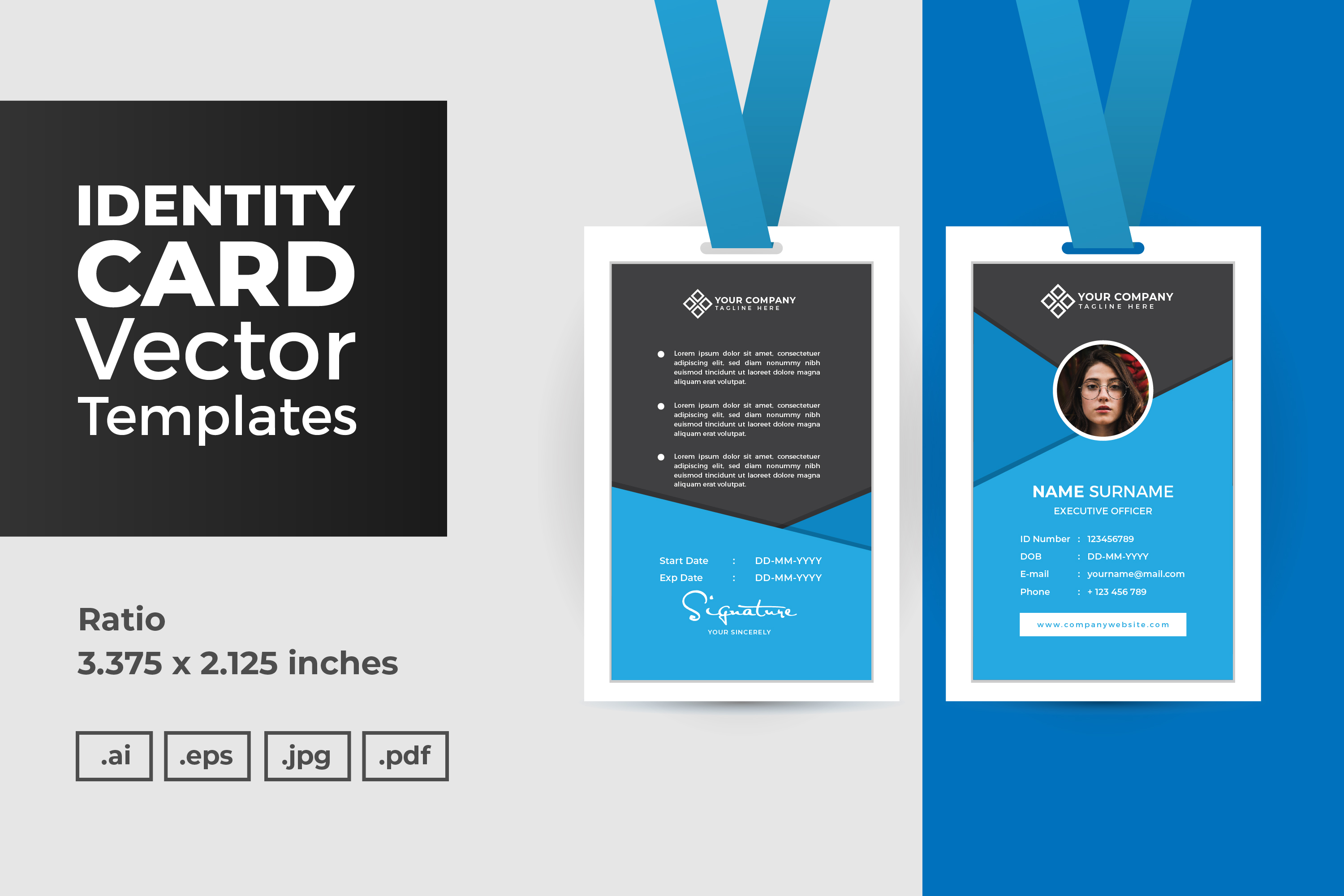 Download Free Id Card Vector Template Graphic By Dendysign Creative Fabrica SVG Cut Files