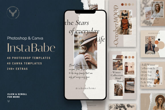 Print on Demand: #InstaBabe PS & Canva Posts and Stories Graphic Web Elements By SilverStag