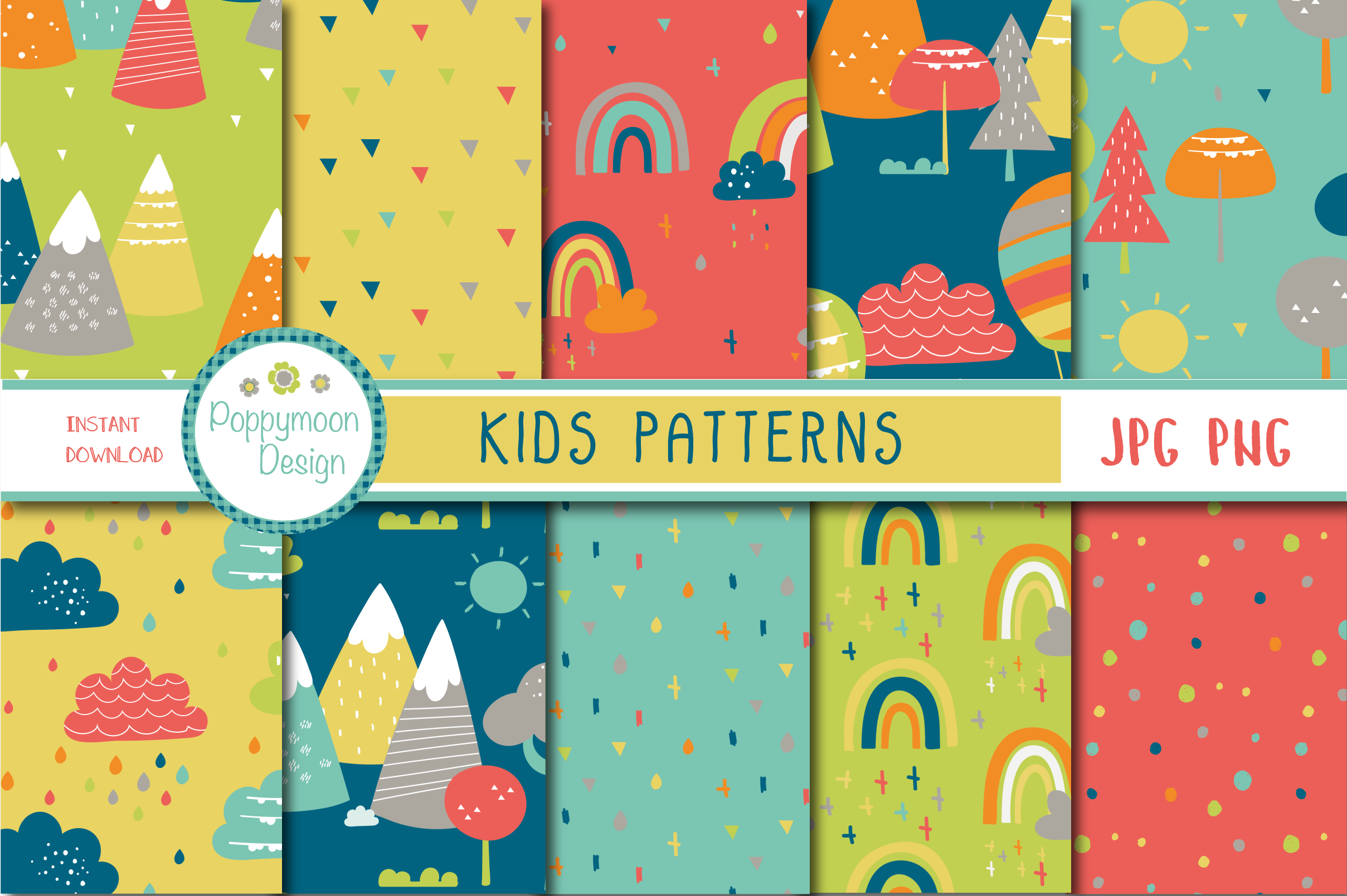 Download Free Kids Patterns Graphic By Poppymoondesign Creative Fabrica for Cricut Explore, Silhouette and other cutting machines.