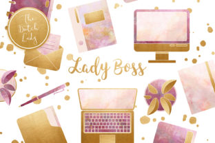 Print on Demand: Lady Boss Office Clipart Set Graphic Illustrations By daphnepopuliers