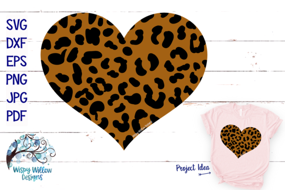 Leopard Print Heart Graphic Crafts By WispyWillowDesigns