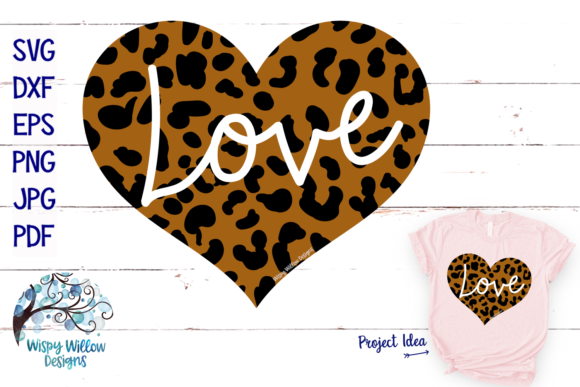 Leopard Print Love Heart Graphic Crafts By WispyWillowDesigns
