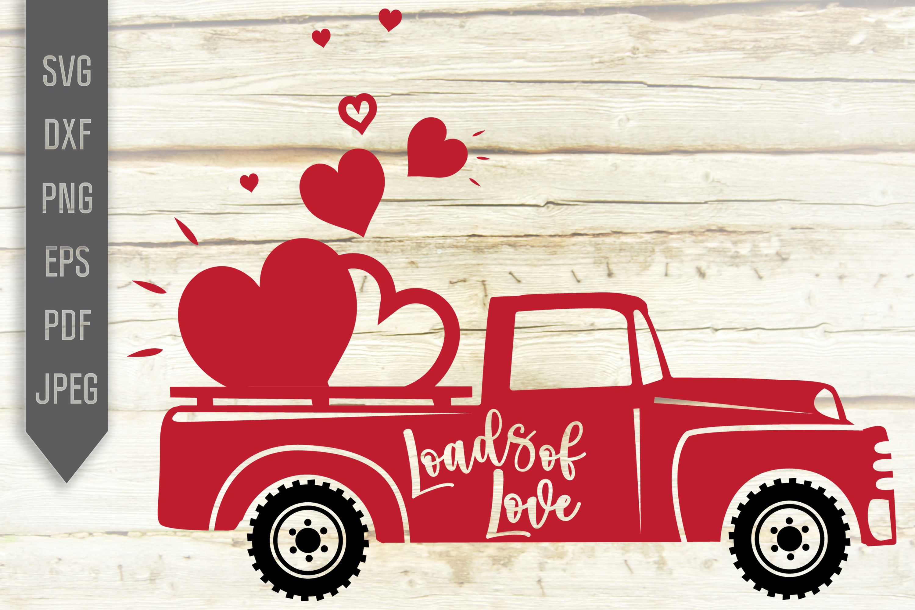 Download Free Loads Of Love Svg Red Valentine S Truck Graphic By for Cricut Explore, Silhouette and other cutting machines.