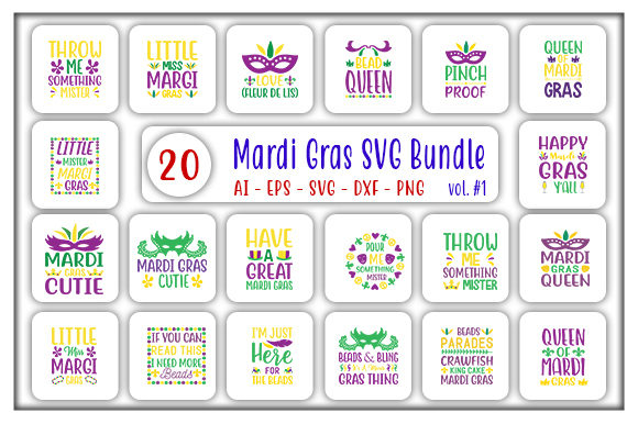 Print on Demand: Mardi Gras Bundle Graphic Print Templates By CreativeArt