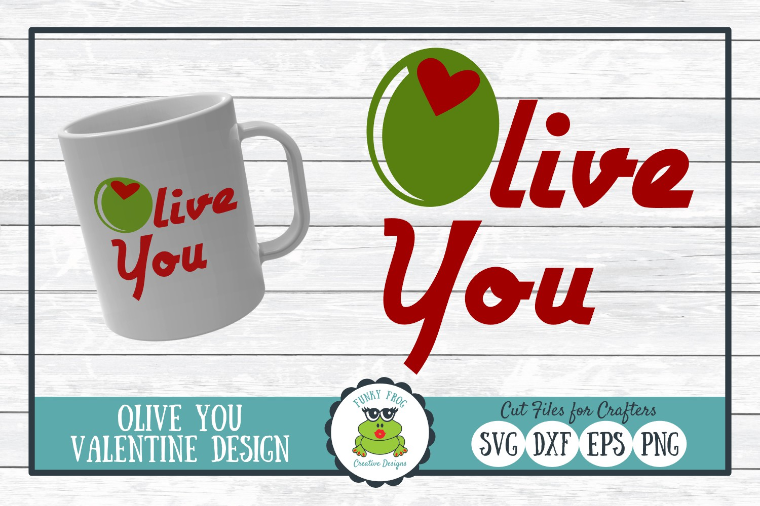 Download Free Olive You Valentine Graphic By Funkyfrogcreativedesigns for Cricut Explore, Silhouette and other cutting machines.