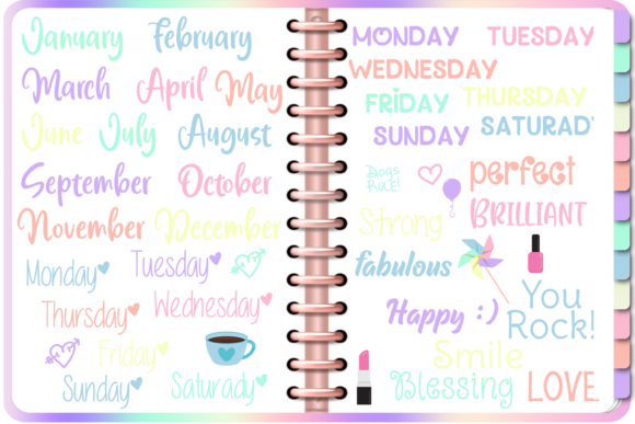 Print on Demand: Pastel Digital Planner DIY with Stickers Graphic Print Templates By AM Digital Designs