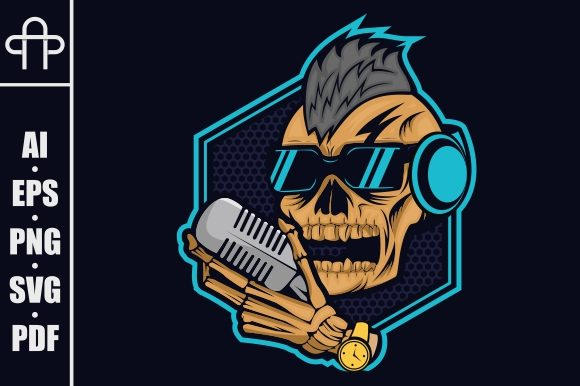 Download Free Podcast Skull Graphic By Andypp Creative Fabrica for Cricut Explore, Silhouette and other cutting machines.