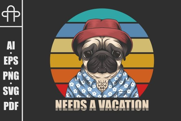 Download Free Pug Dog Need Vacation Illustration Graphic By Andypp Creative for Cricut Explore, Silhouette and other cutting machines.