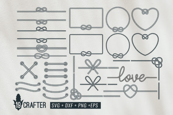 Download Free Rope Frame And Rope Knot Svg Bundle Graphic By Great19 for Cricut Explore, Silhouette and other cutting machines.