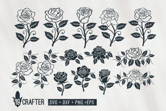 Download Free Rose Flower Clipart Decoration Bundle Graphic By Great19 for Cricut Explore, Silhouette and other cutting machines.