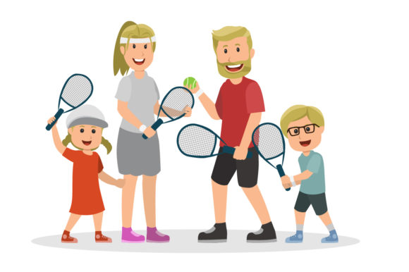 Download Free Set Of Character Family Playing Tennis Graphic By Namela for Cricut Explore, Silhouette and other cutting machines.