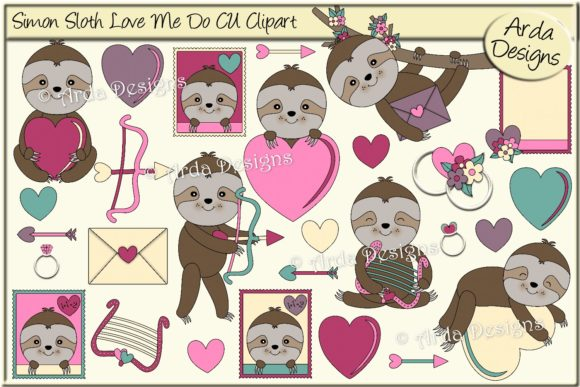 Download Free Simon Sloth Love Me Do Cu Clipart Graphic By Arda Designs for Cricut Explore, Silhouette and other cutting machines.
