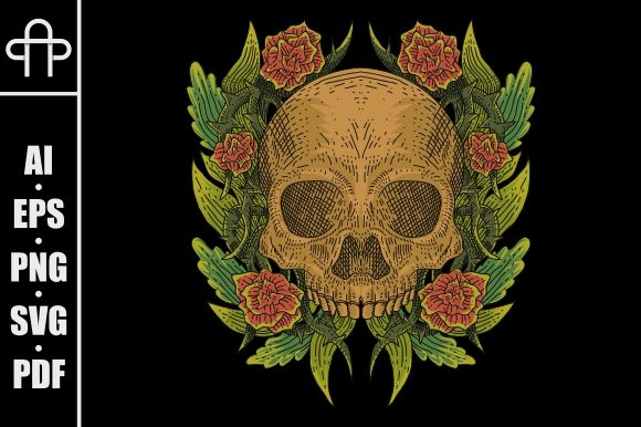 Print on Demand: Skull Rose Vintage Graphic Illustrations By Andypp