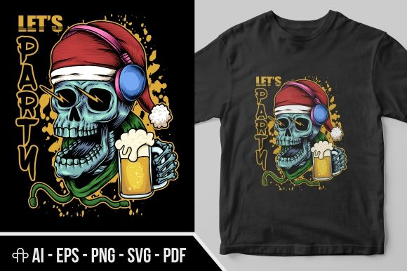 Print on Demand: Skull Beer Christmas Illustration Graphic Illustrations By Andypp