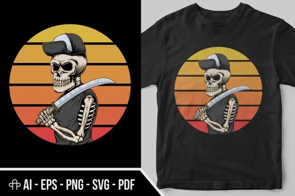Print on Demand: Skull Gangster Sunset Retro Illustration Graphic Illustrations By Andypp