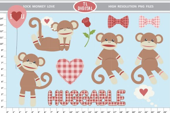 Download Free Sock Monkey Love Clipart Valentines Graphic By Tl Digital for Cricut Explore, Silhouette and other cutting machines.