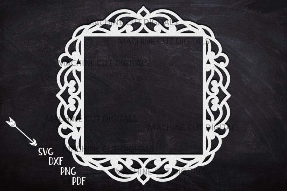 Square Frame with Swirls Cut out Svg Graphic Crafts By Cornelia