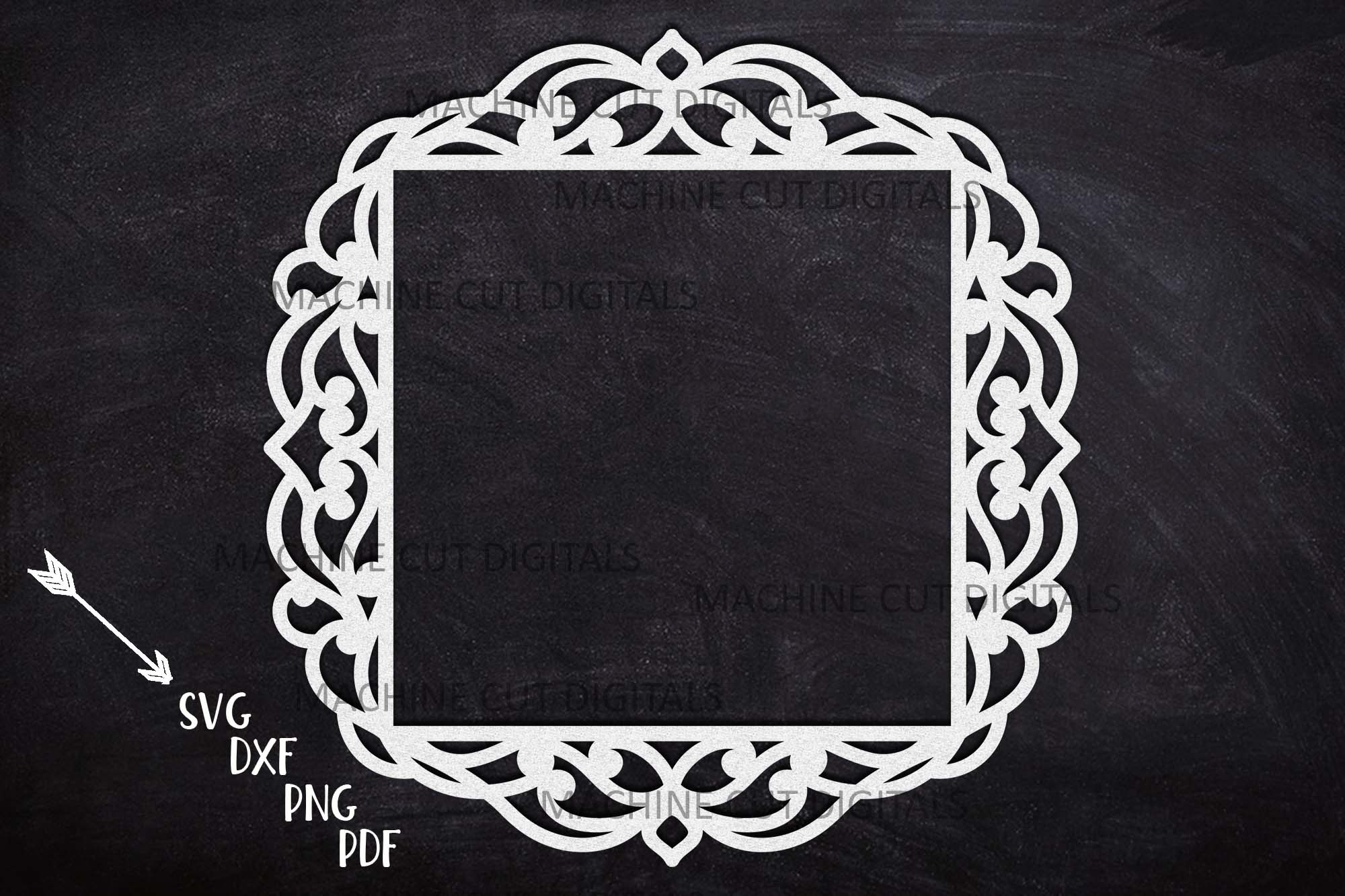 Download Free Square Frame With Swirls Cut Out Svg Creative Fabrica for Cricut Explore, Silhouette and other cutting machines.