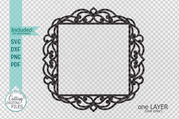 Download Free Square Frame With Swirls Cut Out Svg Graphic By Cornelia for Cricut Explore, Silhouette and other cutting machines.