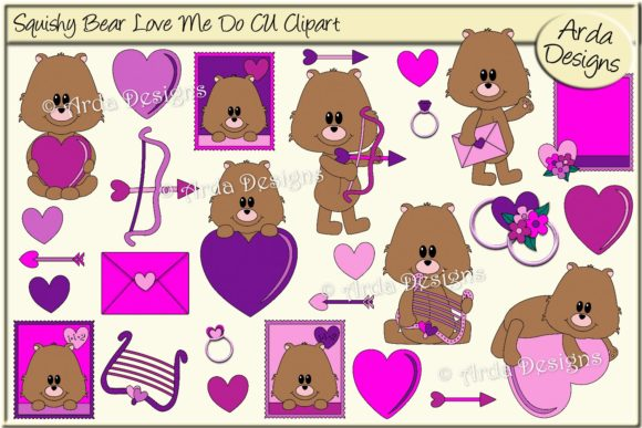 Download Free Squishy Bear Love Me Do Cu Clipart Graphic By Arda Designs for Cricut Explore, Silhouette and other cutting machines.