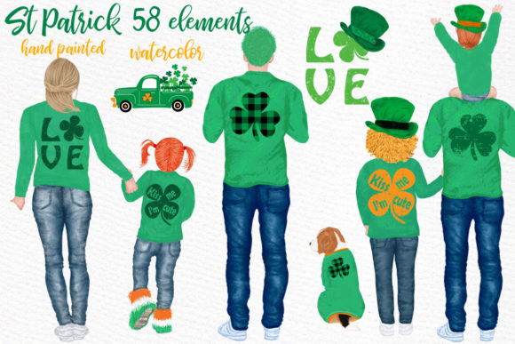 St Patricks Day Clipart,Irish Family Graphic Illustrations By LeCoqDesign