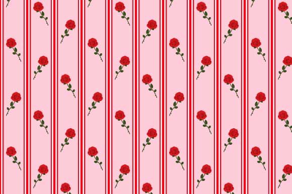 Print on Demand: Stripes and Roses Digital Paper Pattern Graphic Patterns By graphics.farm