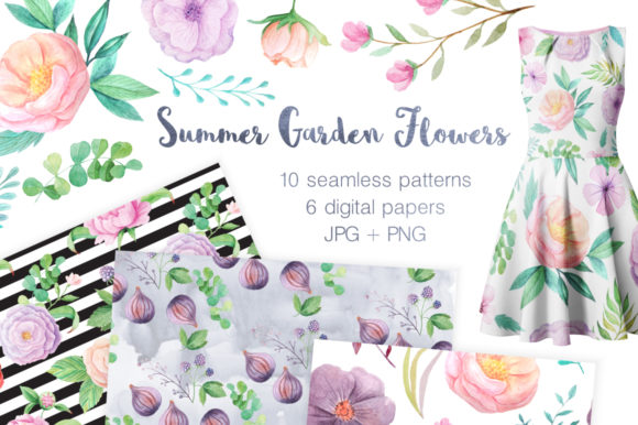 Summer Floral Seamless Patterns Graphic Illustrations By Larysa Zabrotskaya