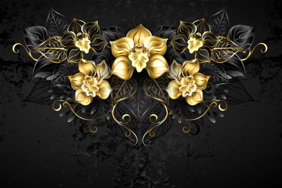 Symmetrical Pattern with Black Orchids Graphic Illustrations By Blackmoon9