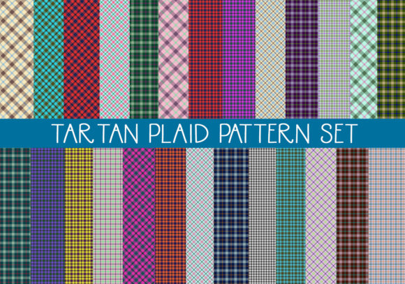 Download Free Tartan Plaid Patterns Set Graphic By Capeairforce Creative Fabrica for Cricut Explore, Silhouette and other cutting machines.