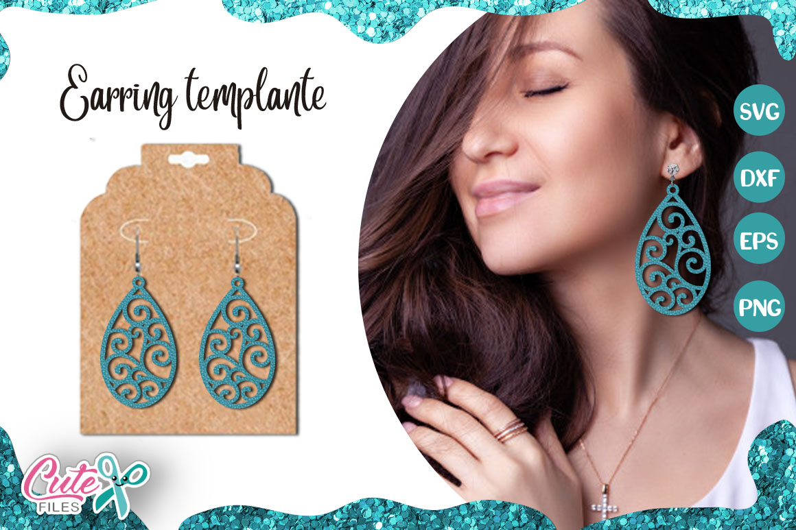 Download Free Tear Drop Earrings Template Cut File Graphic By Cute Files for Cricut Explore, Silhouette and other cutting machines.