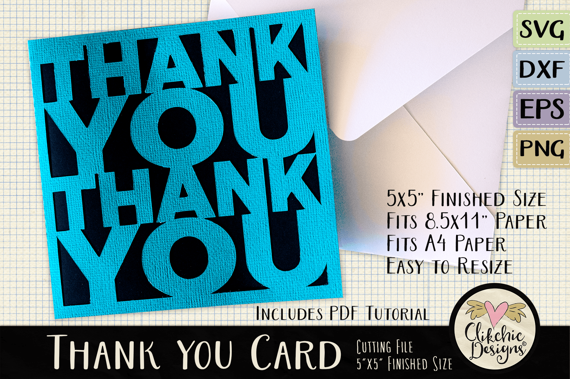 Download Free Thank You Card Cutting File Graphic By Clikchicdesigns for Cricut Explore, Silhouette and other cutting machines.