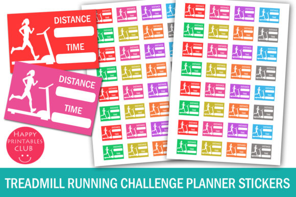 Print on Demand: Treadmill Running Planner Stickers Graphic Crafts By Happy Printables Club