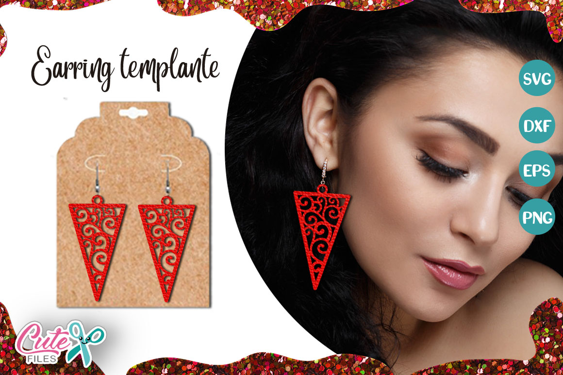 Download Free Triangle Earring Template Cut File Graphic By Cute Files for Cricut Explore, Silhouette and other cutting machines.