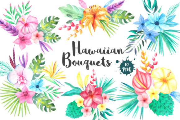 Tropical Bouquets Clipart Set Graphic Illustrations By Larysa Zabrotskaya