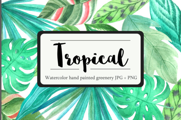 Tropical Watercolor Greenery Set Graphic Illustrations By Larysa Zabrotskaya - Image 1