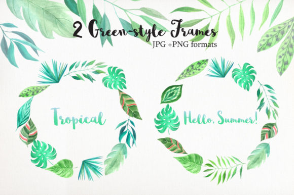 Tropical Watercolor Greenery Set Graphic Illustrations By Larysa Zabrotskaya - Image 3