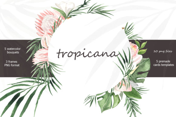 Print on Demand: Tropicana Watercolor Tropical Bouquets Graphic Illustrations By laffresco04