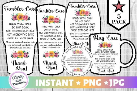 Download Free Tumbler Care Cards Floral Graphic By Suzannecornejo Creative for Cricut Explore, Silhouette and other cutting machines.