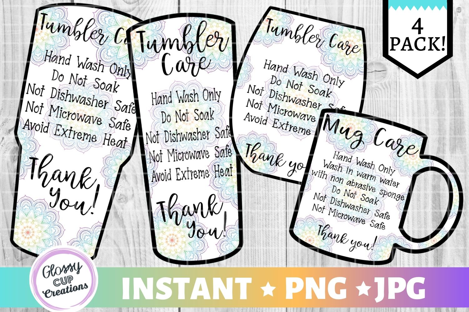 Download Free Tumbler Care Cards Mandala Graphic By Suzannecornejo for Cricut Explore, Silhouette and other cutting machines.