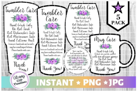 Print on Demand: Tumbler Care Cards - Purple Floral Graphic Crafts By suzannecornejo