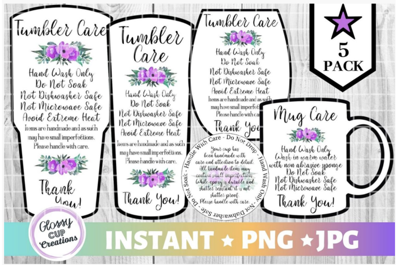 Download Free Tumbler Care Cards Purple Floral Graphic By Suzannecornejo for Cricut Explore, Silhouette and other cutting machines.