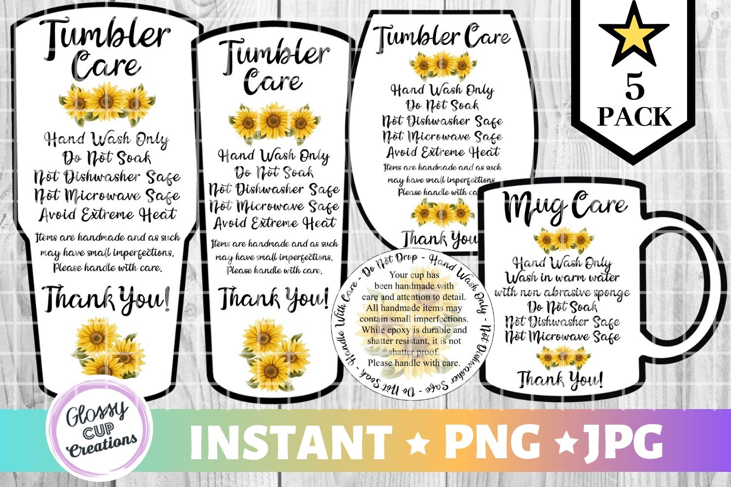 Download Free Tumbler Care Cards Sunflowers Graphic By Suzannecornejo for Cricut Explore, Silhouette and other cutting machines.