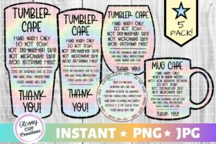 Print on Demand: Tumbler Care Cards - Tie Dye Graphic Crafts By suzannecornejo